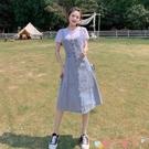 牛仔洋裝2021年女學生夏季中長款牛仔背帶連身裙氣質減齡過膝顯瘦牛仔裙潮 愛丫 新品