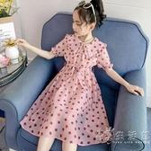 女童波點洋裝夏裝2020新款韓版兒童夏季裙子女大童洋氣雪紡長裙 中秋節全館免運