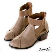 amai民俗風鏤空鬆緊帶繞踝粗跟短靴 灰