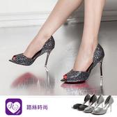 【快速出貨】歐美羅馬風亮片拼色露趾尖頭高跟鞋/2色/35-39碼  (RX1134-3) iRurus 路絲時尚