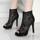 魚口鞋 涼靴女高跟鞋2021年夏季新款韓版網紗水鉆性感涼鞋細跟外穿魚嘴鞋