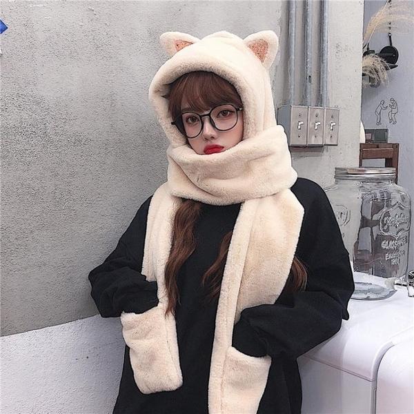 帽子女秋冬季 甜美可愛冬天毛絨圍巾 一體護耳保暖帽加絨三件套