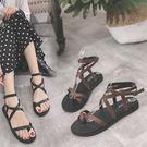 綁帶夾趾涼鞋女夏季復古港味百搭平底羅馬韓國學生學院 奇思妙想屋