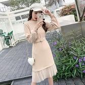 針織洋裝毛衣打底裙中長款秋冬新款時尚韓版網紗過膝長袖針織洋裝女 雙12全館免運