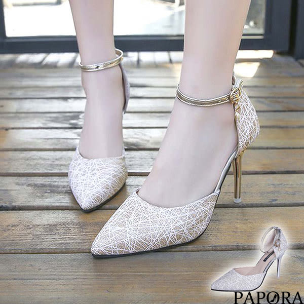 PAPORA低調優雅尖頭宴會高跟鞋KQ7136金/銀