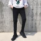 FINDSENSE H1夏季 日本 新款 黯黑 水洗 顯瘦顯高 針織長褲  潮男