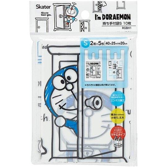 小禮堂 哆啦A夢 透明環保塑膠袋組 環保購物袋 便當袋 手提袋 (S 10入 藍) 4973307-53233