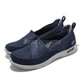 Skechers 休閒鞋 Arch Fit Refine 深藍 白 健走鞋 女鞋 足供支撐 【ACS】 104270-NVY