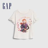 Gap女幼Gap x Disney 迪士尼系列冰雪奇緣甜美風格印花短袖T恤551321-光感亮白