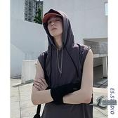 連帽背心男夏季韓版學生運動無袖T恤帶帽衫寬鬆衛衣【邻家小鎮】