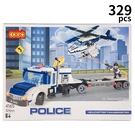 COGO 積高積木 4165 警察直升機運輸車 約329pcs/一盒入(促550) 新城市警察系列 可與樂高混拼 -CF149850