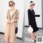 孕婦秋裝針織打底衫新款秋冬裝洋裝套裝裙子秋季上衣毛衣潮 玫瑰女孩