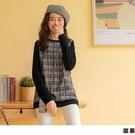 《AB14073-》格紋配色拼接長袖含棉...