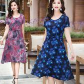 夏季中長款大碼顯瘦綿綢連身裙女中老年30-40-50媽媽時尚大擺裙 東京衣秀