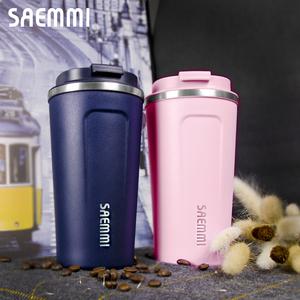 韓國-咖啡直飲輕量保溫杯一入-500ML櫻花粉
