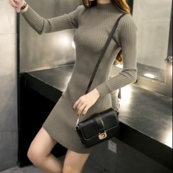 EASON SHOP(GU9307)純色坑條紋高領針織連身裙 長袖 洋裝 彈力貼身 包臀裙 修身顯瘦 短裙