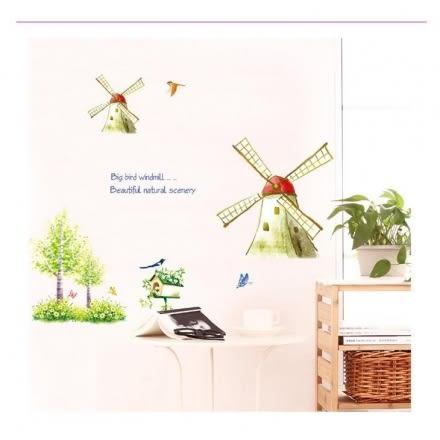 壁貼 DIY創意無痕 牆貼 貼紙【半島良品】-田園風車 AY907
