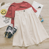 MUMU【P10160】大口袋打折後鬆緊中長裙圓裙。三色