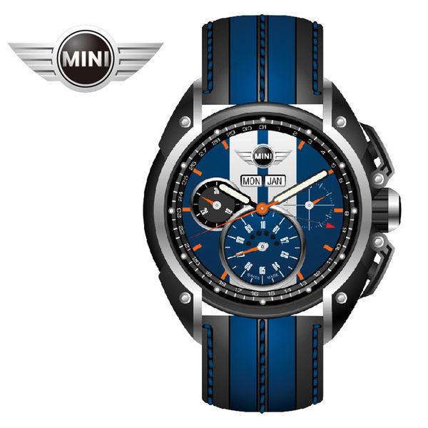 【萬年鐘錶】MINI Swiss Watches英國風格 藍面白條三眼外圈數字日期 黑藍雙色皮帶錶  45mm MINI-02
