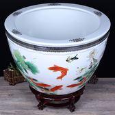 陶瓷器魚缸大號盛水缸風水缸荷花缸睡蓮缸釉上彩庭院缸 免運快速出貨