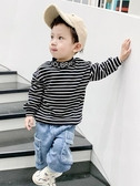 保暖衛衣兒童新款男寶寶冬季高領打底衫男童加厚條紋上衣促銷好物