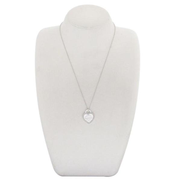 Tiffany & Co 蒂芬妮 Heart Tag Necklace 18白K金愛心造型項鍊【二手名牌BRAND OFF】