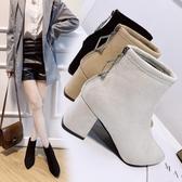 短靴女2020新款秋款瘦瘦靴百搭英倫風網紅小個子短筒粗跟尖頭單靴