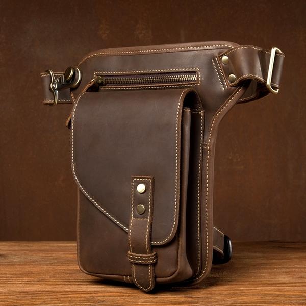 新款復古瘋馬皮腿包真皮小男包牛皮單肩斜挎包騎士包男士摩托包潮 黛尼時尚精品