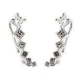 耳環 925純銀鑲鑽-經典長款情人節生日禮物女耳針73gt116【時尚巴黎】