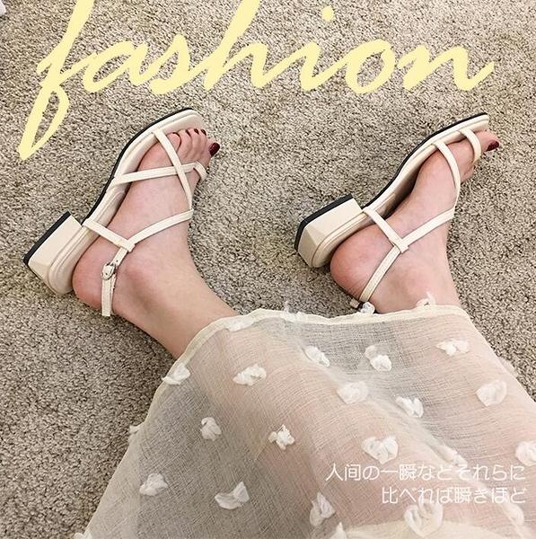 粗跟涼鞋女2020年新款夏季時尚細帶仙女風ins潮白色優雅羅馬鞋子 全館免運 快速出貨