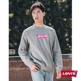 Levis 男款 大學T / 經典Box logo / 內刷毛 / 灰