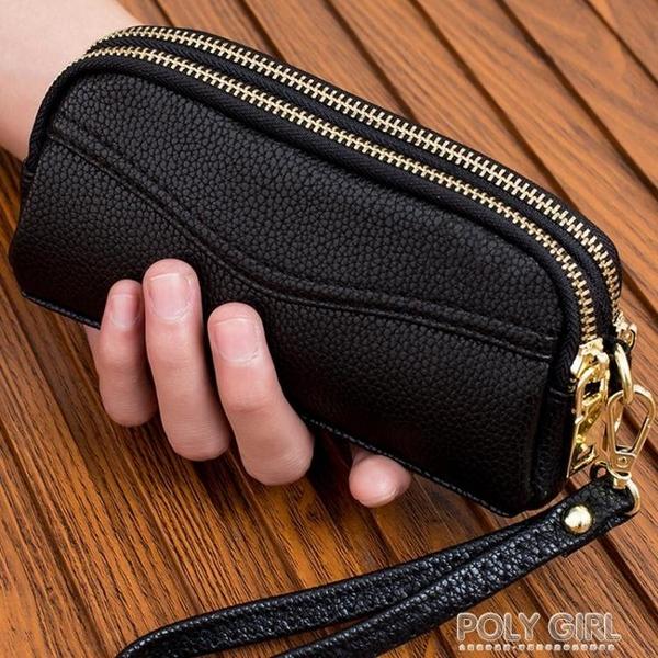 新款雙拉練手拿包女式時尚小手包手機包零錢包簡約女包手抓包 夏季新品
