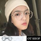 OT SHOP眼鏡框‧時尚潮流百搭造型必備款韓系雷朋型橢圓型金屬平光眼鏡‧亮黑/透明白‧S50