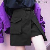 半身裙女夏側開叉小黑裙
