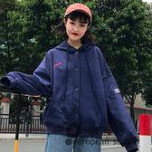 連帽外套/女春秋韓版學生復古原宿長袖寬鬆港風嘻哈棒球服潮
