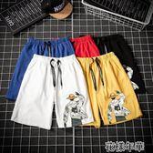 夏季潮流時尚印花男士休閒短褲新款流行青少年寬鬆五分褲 花樣年華