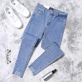 不規則破洞牛仔褲子女秋季新款韓版學生緊身顯瘦九分小腳褲 東京衣櫃