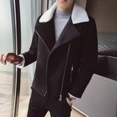 2019秋冬季新款風衣男短款韓版潮流毛呢大衣休閒羊羔毛領呢子外套叢林之家