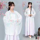 漢服古裝原創設計傳統漢服改良日常上襦齊胸大袖衫玫瑰刺繡漸變款套 超值價