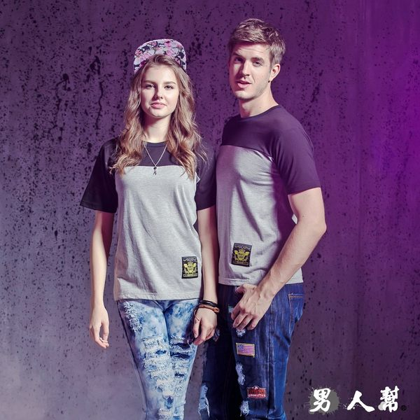 【男人幫】T1135*MIT 台灣製造/ 拼接潮牌【拼接潮牌純棉T恤】情侶可穿 潮流PARYT情人節特惠