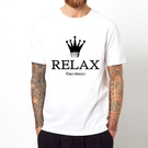 RELAX 短袖T恤-白色 趣味幽默設計插畫裸女潮流情色KUSO樂團玩翻