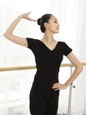 舞蹈服   舞蹈上衣練功服V領女成人練舞服棉短袖白色舞蹈服形體舞衣【寶媽優品】