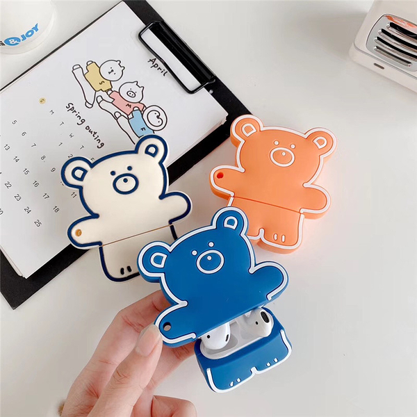 Airpods 1/2代 專用 台灣發貨 [ 可愛糖果小熊 ] 藍芽耳機保護套 蘋果無線耳機保護