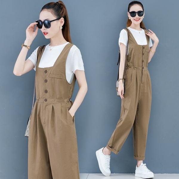 連身褲套裝兩件式M-3XL韓版寬松顯瘦工裝連體褲套裝洋氣減齡背帶褲TAF-02A.229 胖丫