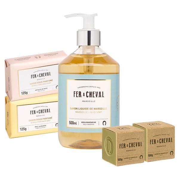 Fer à Cheval法拉夏 初春精選 洗沐特惠組【BG Shop】香氛皂液+香氛皂x2+馬賽皂100g方形x2