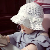 女盆帽兒童蕾絲花邊蝴蝶結鏤空蕾絲太陽帽女