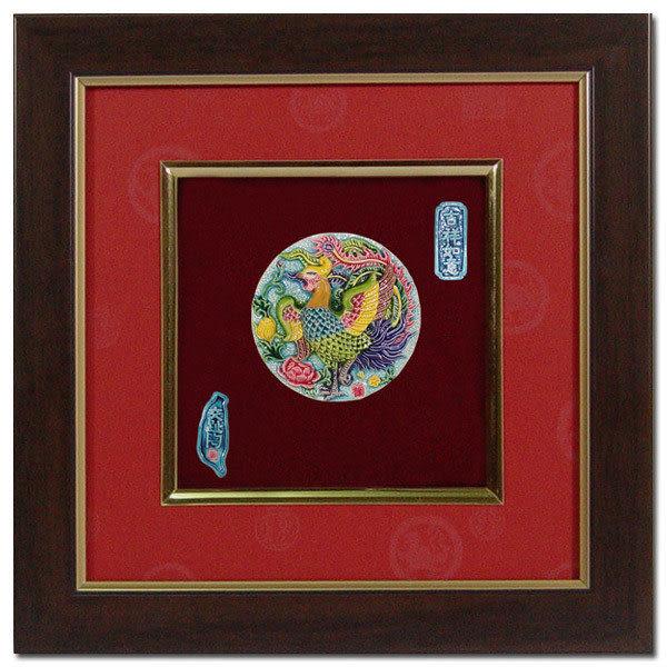 鹿港窯-居家開運商品-台灣國寶交趾陶裝飾壁飾-正方立體框【鳳戲牡丹】免運費送到家