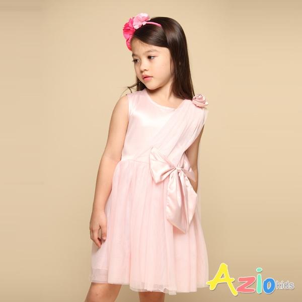 Azio 女童 洋裝 大蝴蝶結肩立體花朵造型網紗無袖洋裝(粉) Azio Kids 美國派 童裝