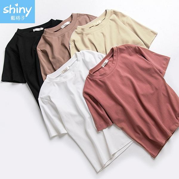 【V3335】shiny藍格子-夏日基調.素面圓領寬鬆短袖上衣