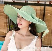 夏天沙灘草帽子女韓版潮海邊大帽檐防曬遮陽出游度假百搭大沿涼帽     科炫數位